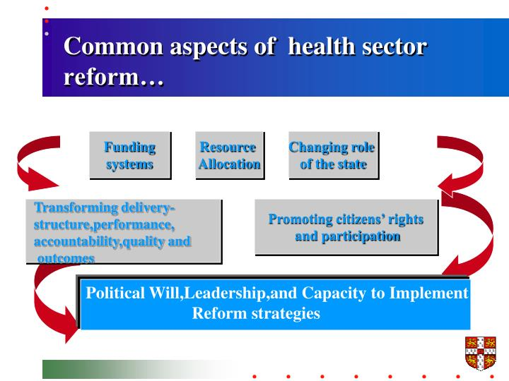 Common aspects of  health sector reform…