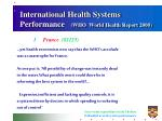 international health systems performance who world health report 2000