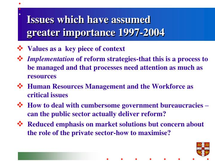 Issues which have assumed greater importance 1997-2004