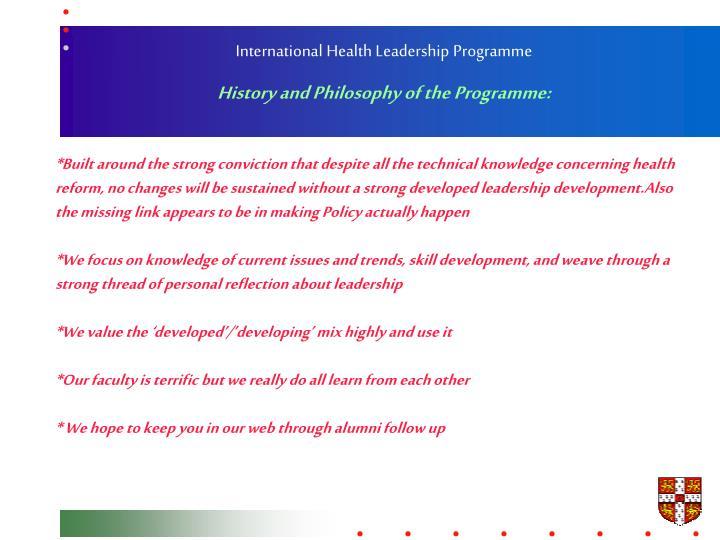 International Health Leadership Programme