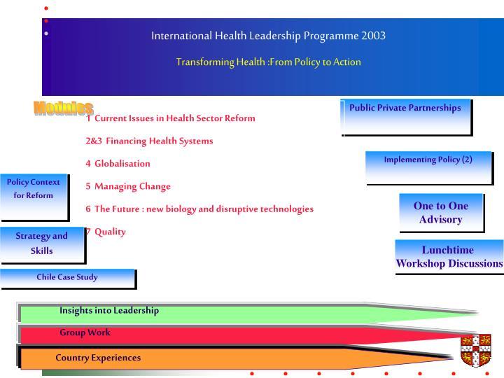 International Health Leadership Programme 2003