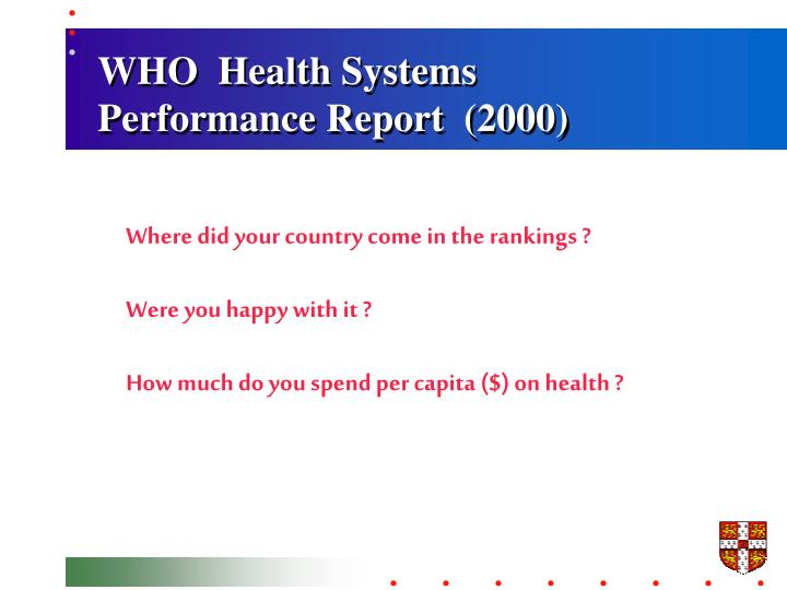 WHO  Health Systems Performance Report  (2000)