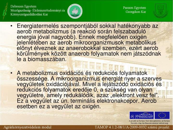 Energiatermels szempontjbl sokkal hatkonyabb az aerob metabolizmus (a reakci sorn felszabadul energia jval nagyobb). Ennek megfelelen oxign jelenltben az aerob mikroorganizmusok metabolikus elnyt lveznek az anaerobokkal szemben, ezrt aerob krlmnyek kztt anaerob folyamatok nem jtszdnak le a biomasszban.
