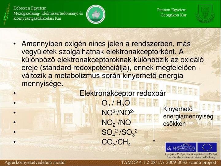 Amennyiben oxign nincs jelen a rendszerben, ms vegyletek szolglhatnak elektronakceptorknt. A klnbz elektronakceptoroknak klnbzik az oxidl ereje (standard redoxpotencilja), ennek megfelelen vltozik a metabolizmus sorn kinyerhet energia mennyisge.