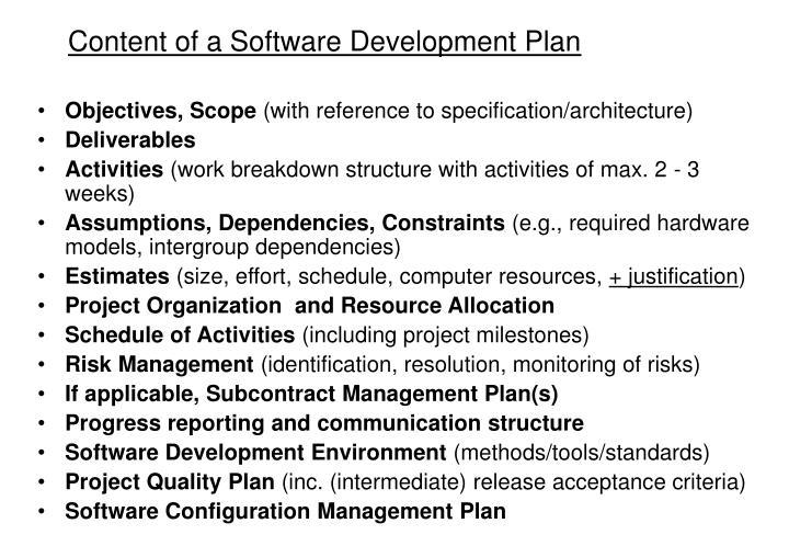 Content of a Software Development Plan