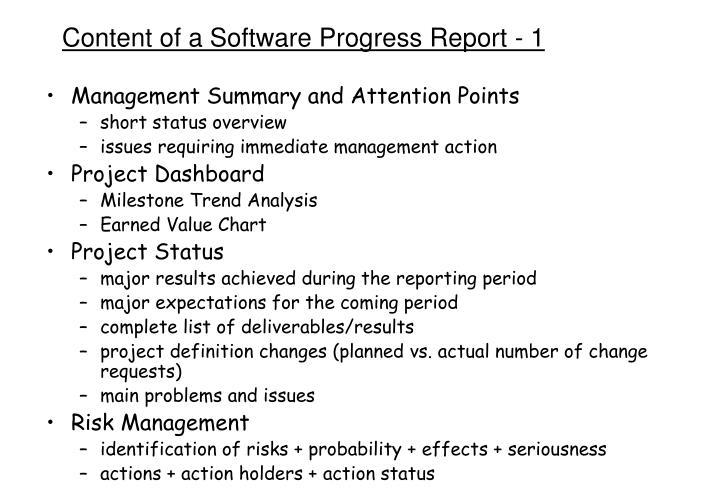 Content of a Software Progress Report - 1