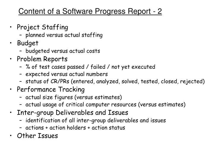 Content of a Software Progress Report - 2