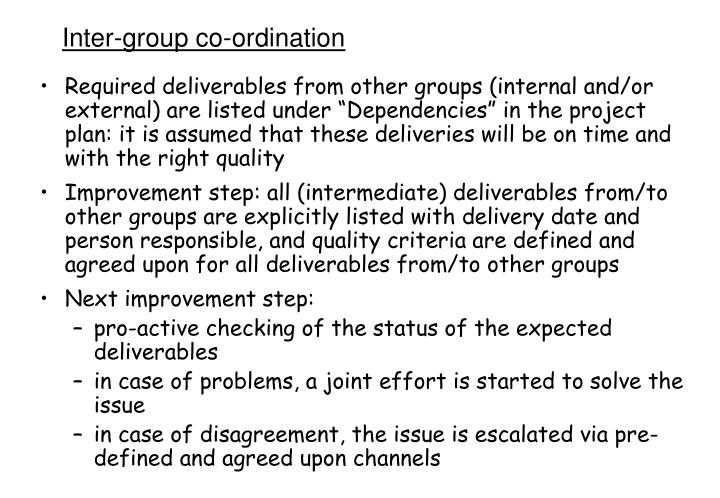 Inter-group co-ordination