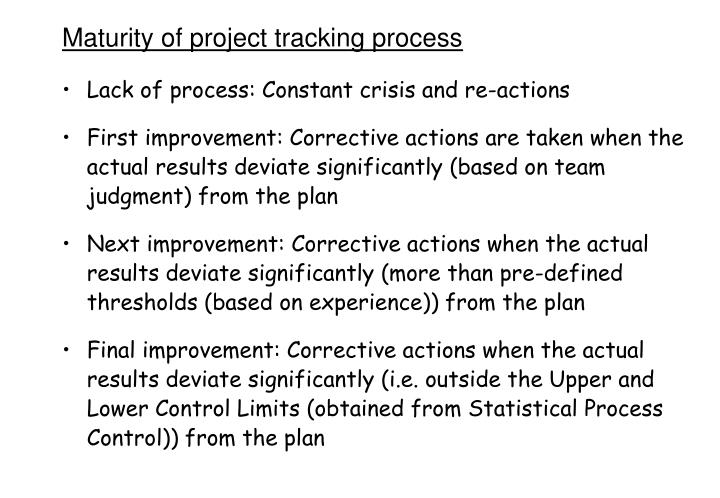 Maturity of project tracking process