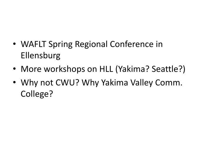 WAFLT Spring Regional Conference in Ellensburg