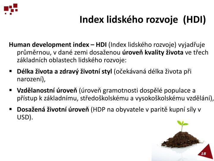 Index lidského rozvoje  (HDI)