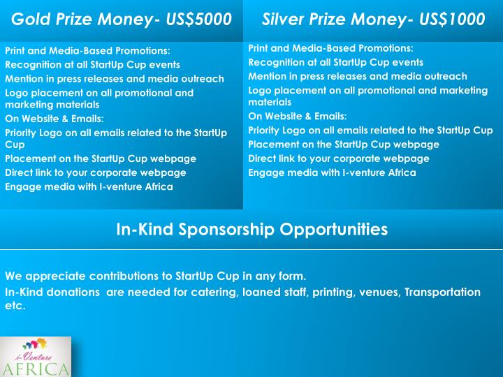 Gold Prize Money- US$5000