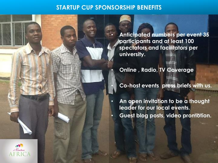 STARTUP CUP SPONSORSHIP BENEFITS