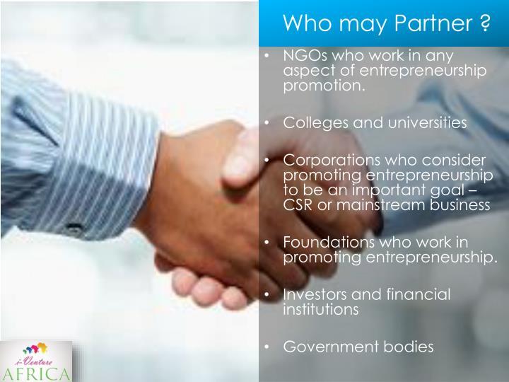 Who may Partner ?