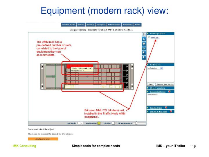 Equipment (modem rack) view: