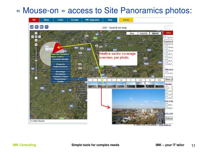 « Mouse-on » access to Site Panoramics photos: