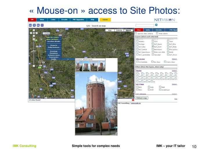 « Mouse-on » access to Site Photos: