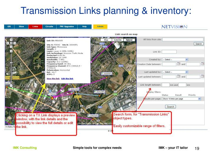 Transmission Links planning & inventory: