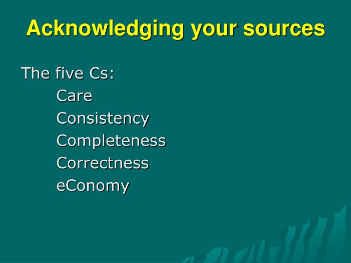 Acknowledging your sources