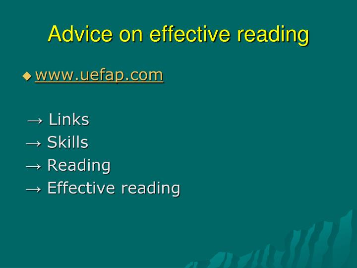 Advice on effective reading