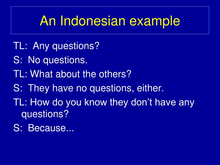 An Indonesian example