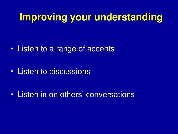 Improving your understanding