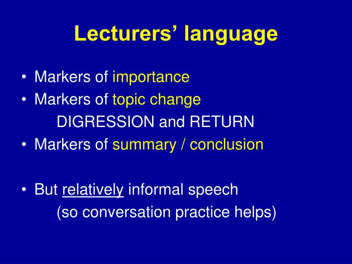 Lecturers' language