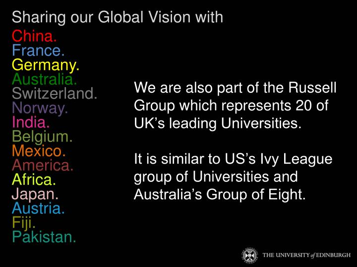Sharing our Global Vision with