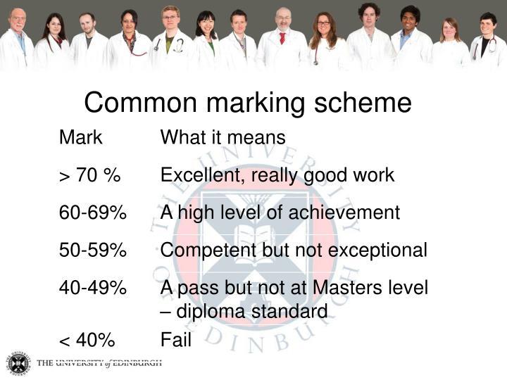 Common marking scheme
