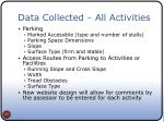 data collected all activities