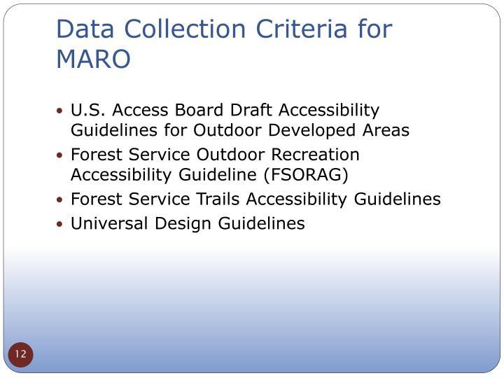 Data Collection Criteria for MARO