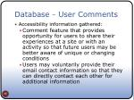 database user comments