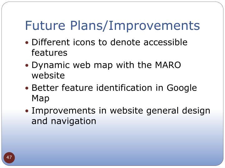 Future Plans/Improvements