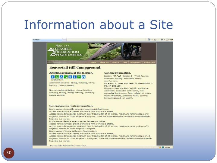 Information about a Site