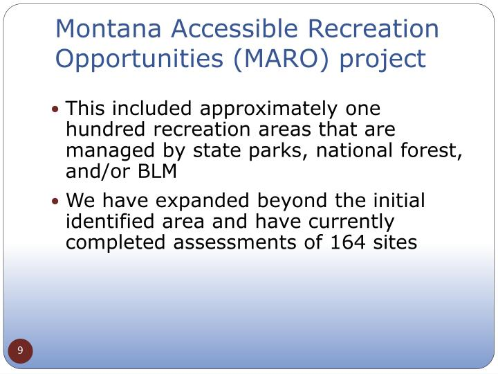 Montana Accessible Recreation Opportunities (MARO) project