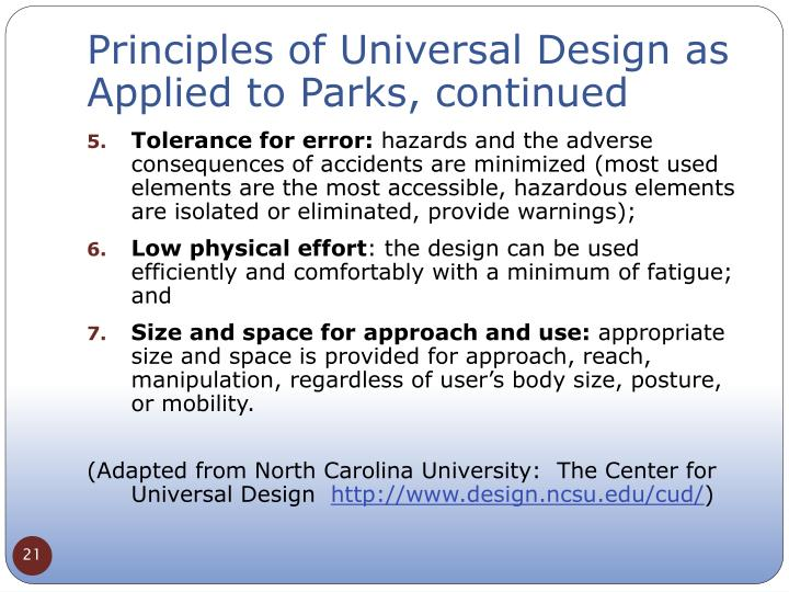 Principles of Universal Design as Applied to Parks, continued