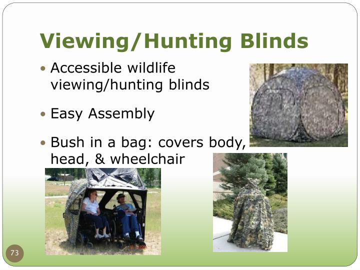 Accessible wildlife viewing/hunting blinds