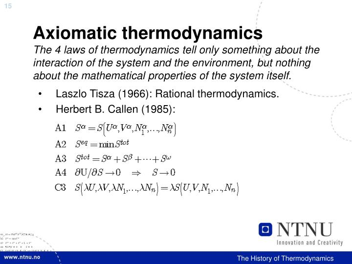 Axiomatic thermodynamics