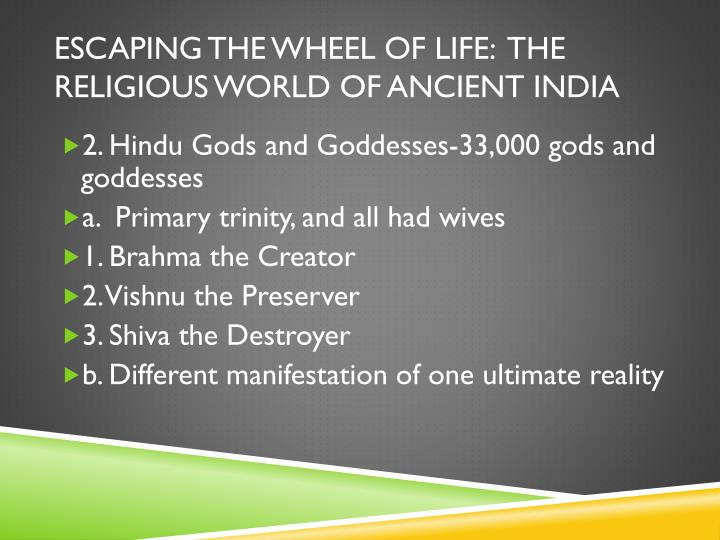 Escaping the Wheel of life:  the religious World of ancient india