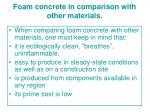 foam concrete in comparison with other materials