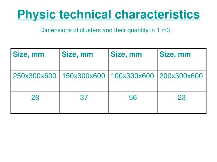 Physic technical characteristics