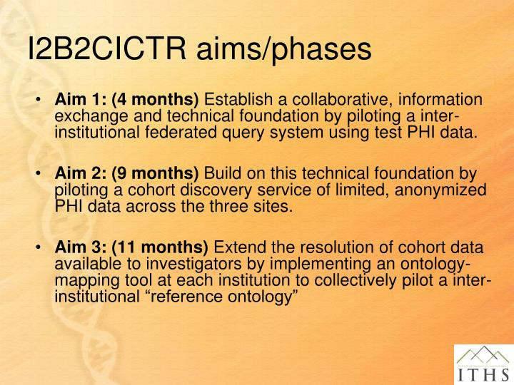 I2B2CICTR aims/phases