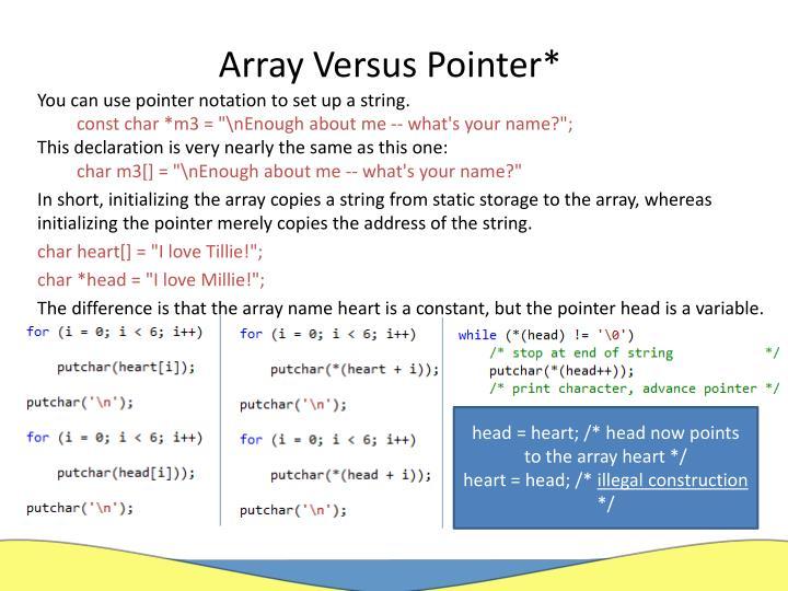 Array Versus Pointer*