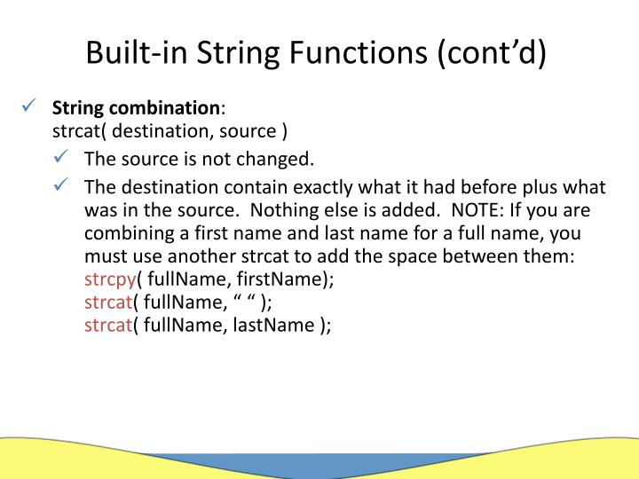 Built-in String Functions (cont'd)