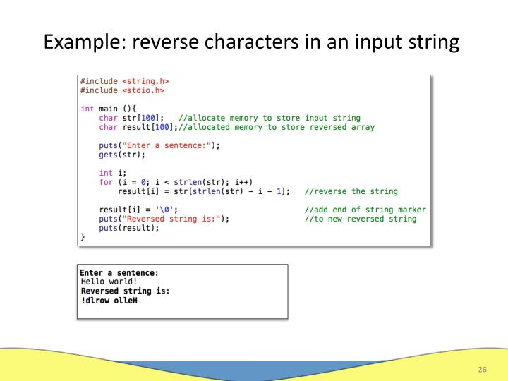 Example: reverse characters in an input string