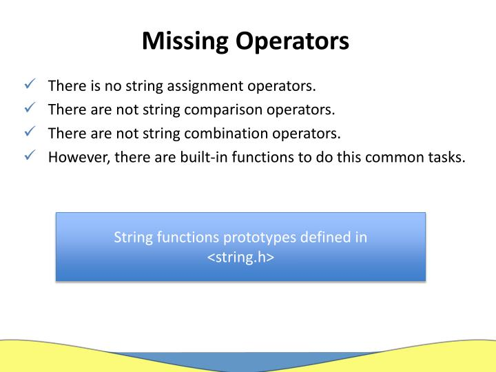 Missing Operators