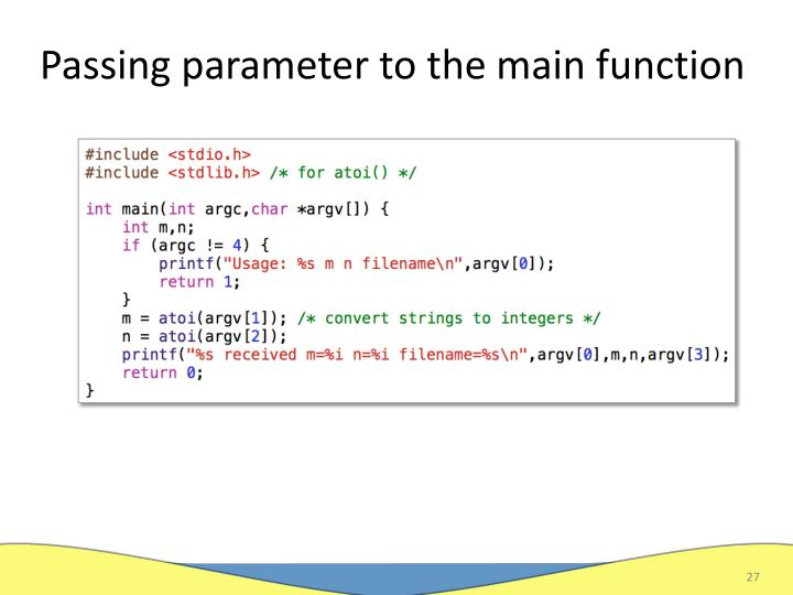 Passing parameter to the main function
