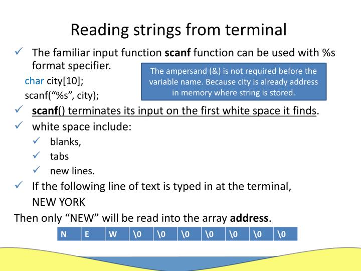 Reading strings from terminal