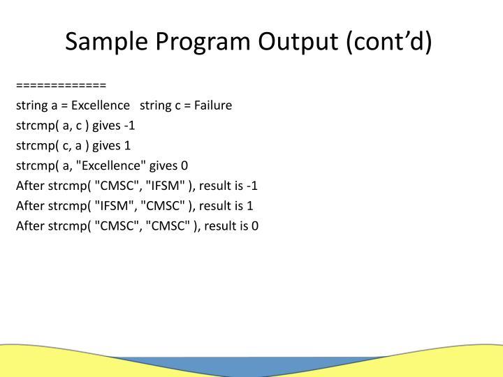 Sample Program Output (cont'd)
