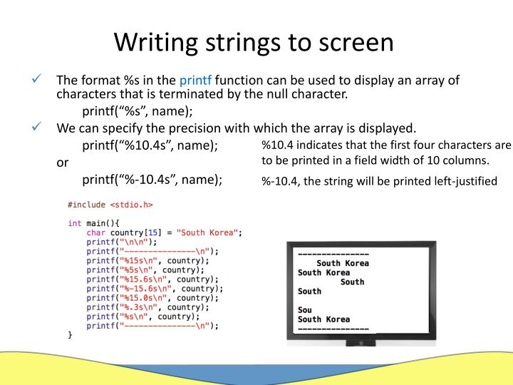 Writing strings to screen